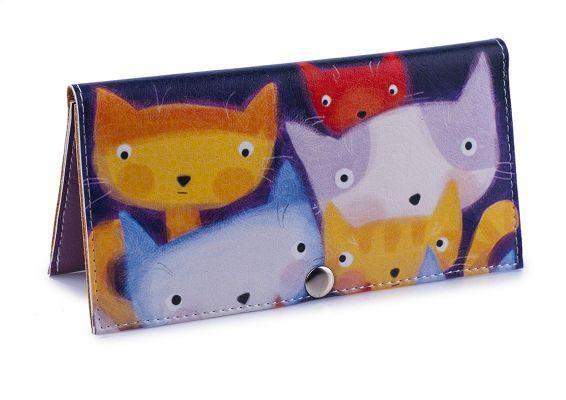 кошелек клатч портмоне разноцветные коты