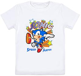 "Детская футболка Sonic ""Speed player"" (белая)"