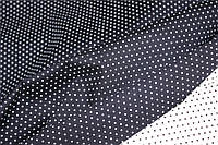 Горох мелкий на темно синем .Рубашечная ткань хлопок стрейч .(эластан 5%) слабый стрейч!, фото 1