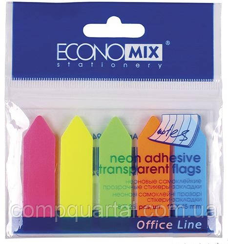 """Стікер-закладки ECONOMIX 20946 """"Стрілки"""" 45Х12мм, 5Х25арк. Неон пластикові"""