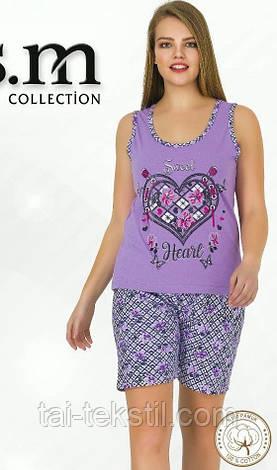 Пижама женская майка и шорты хлопок разные цвета Турция, фото 2