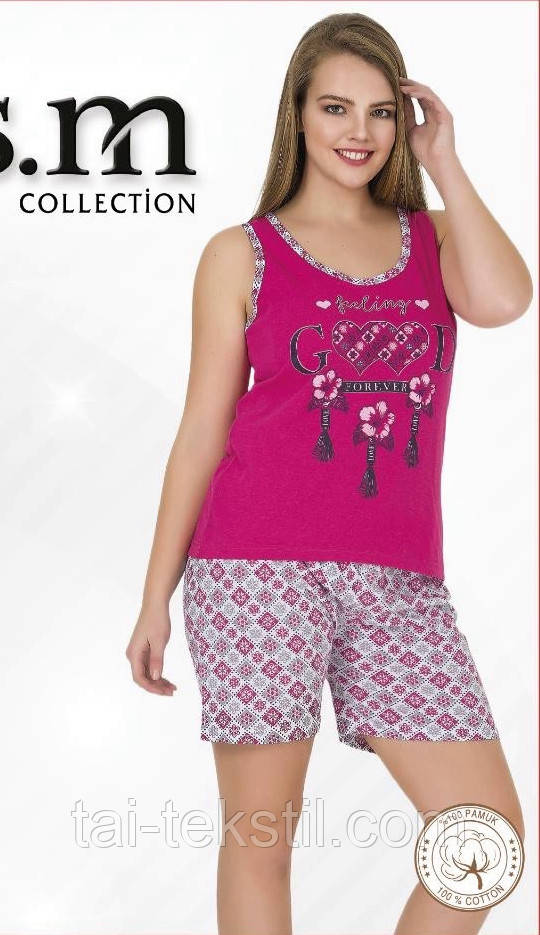 Пижама женская майка и шорты тоненький хлопок разные цвета Турция