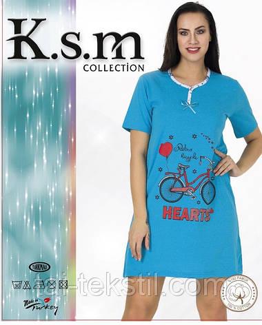 Туника домашняя с коротким рукавом хлопок в разных цветах (ночнушка) KSM, фото 2