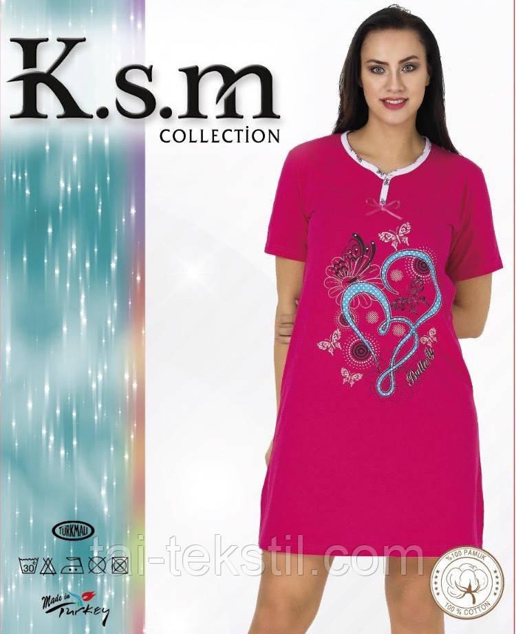 Туника домашняя с коротким рукавом хлопок в разных цветах (ночнушка) KSM №