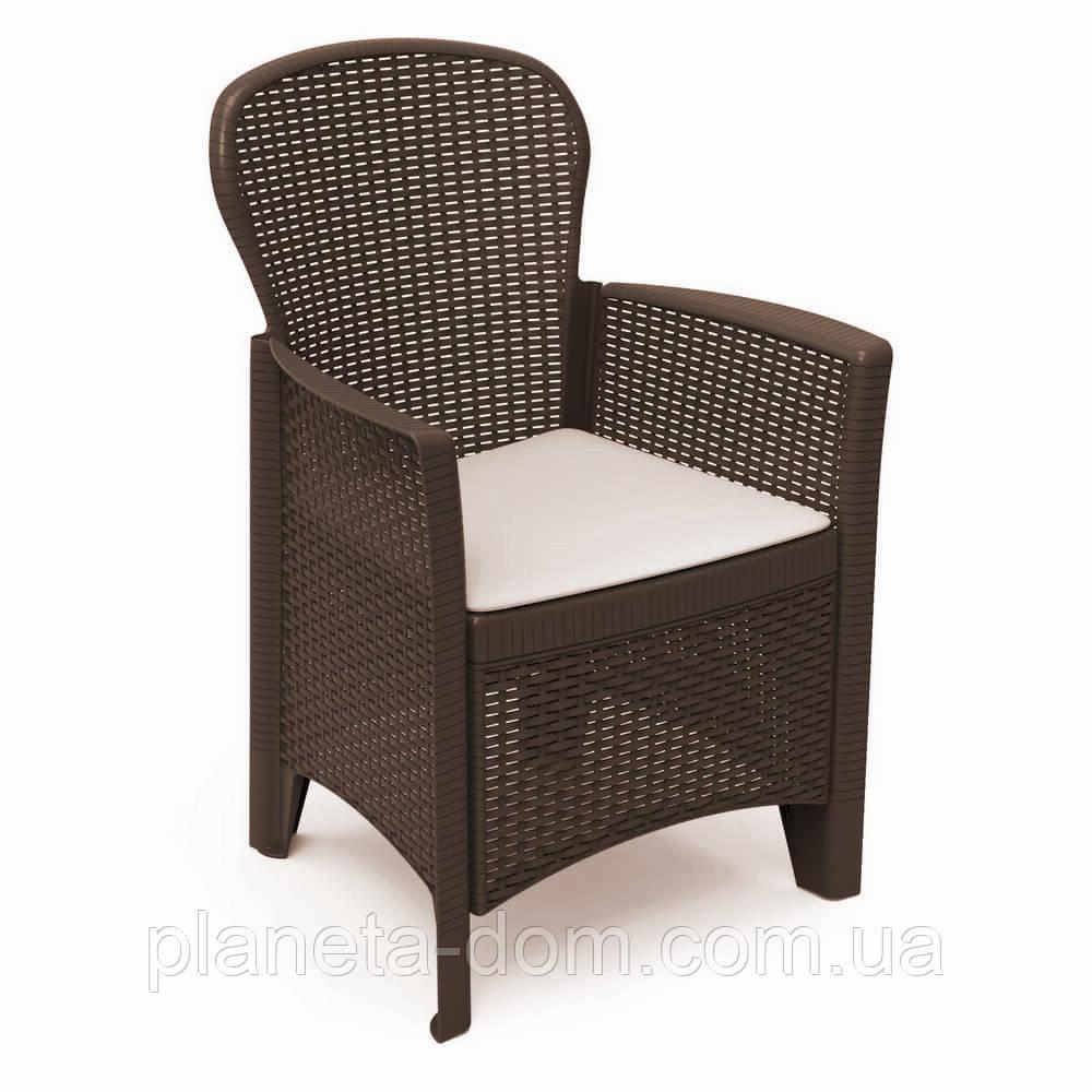 Кресло пластиковое  Folia коричневое с подушкой