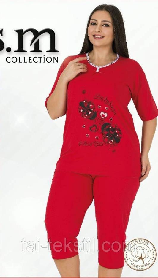 Пижама футболка с бриджами большого размера тоненький хлопок Турция