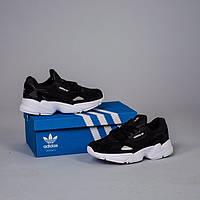 Женские кроссовки в стиле Adidas Yung-1 Falcon Black/White (Топ качество - Лицензия)