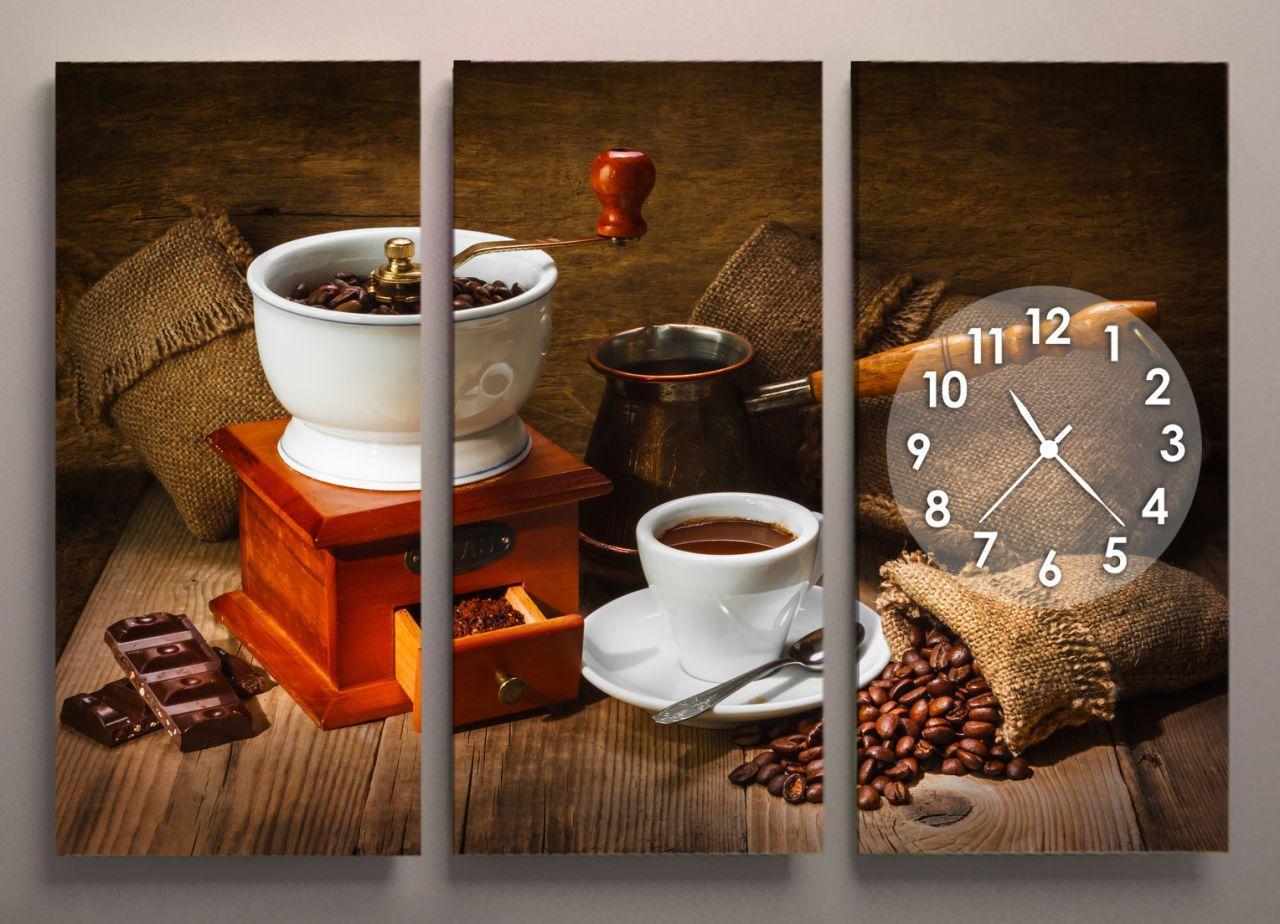 Картина модульная часы для кухни 90х60