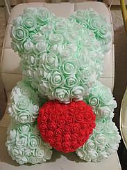 Подарочный Мишка из роз, Нежно-бирюзовый   40см