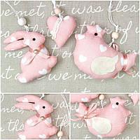 """Пасхальная шитая подвеска """"Кролик, курочка, сердечко"""", хлопок, 7-9 см., 115/95 (цена за 1 шт. + 20 гр.)"""