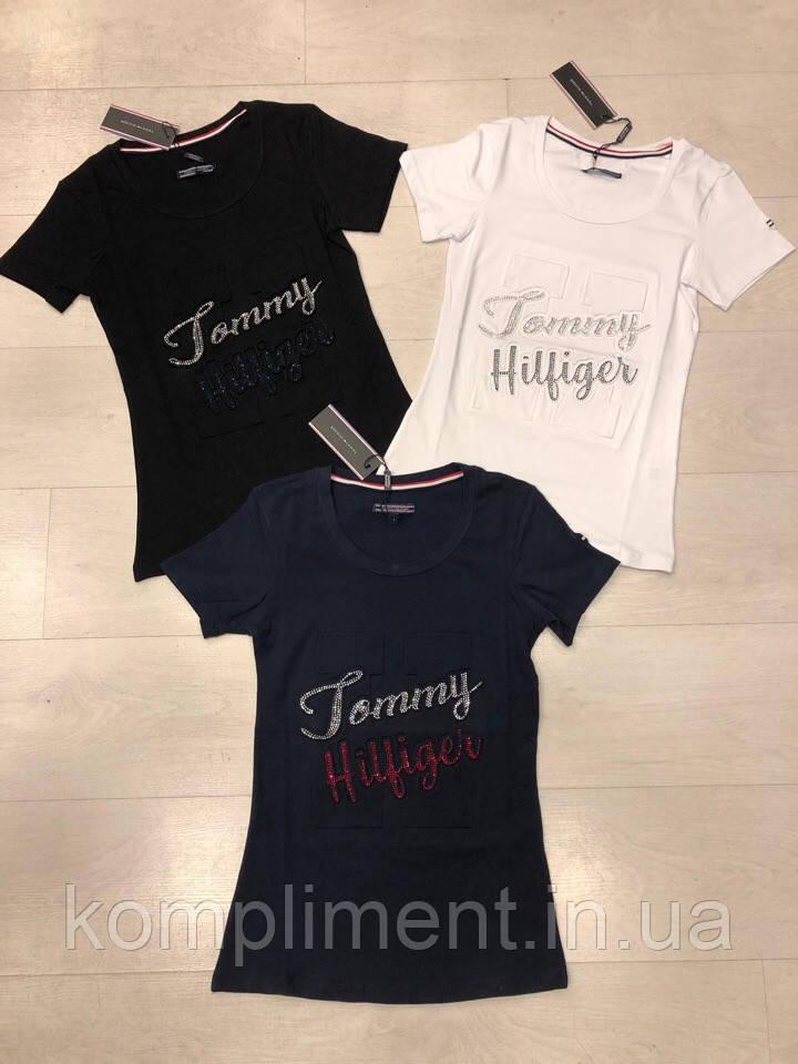 Річна жіноча турецька футболка з написом р. 42-48, FL 1051
