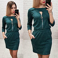 Платье с молнией, меланж, модель 151, темно зеленый (бутылка)