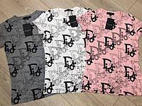 Красивая  женская турецкая  футболка с буквами р.42-48, FL 1053, фото 1