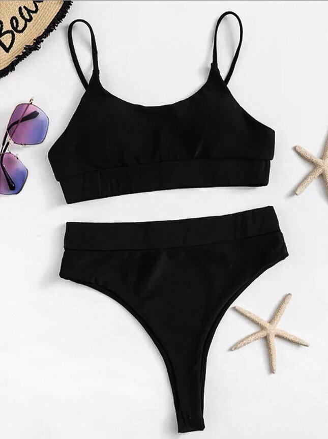 Спортивний купальник топ з високими бікіні на резинці чорний S, M