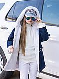 Детская джинсовая куртка парка на меху подросток с капюшоном декор мех размер:140-146,146-152,152-158,158-164, фото 7