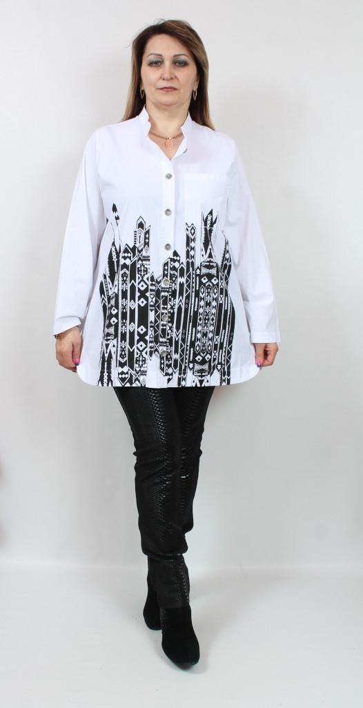 Турецкая рубашка с оригинальным принтом, размеры 54-64