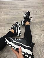 Кроссовки бренд 130219 черные с серебристым декором