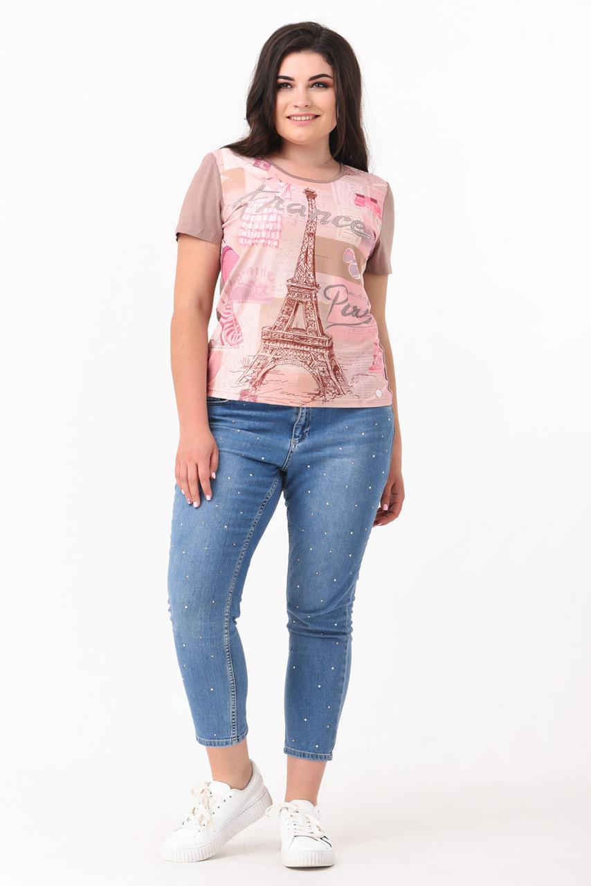 Блуза в пастельних тонах з принтом Великі розміри 50-58