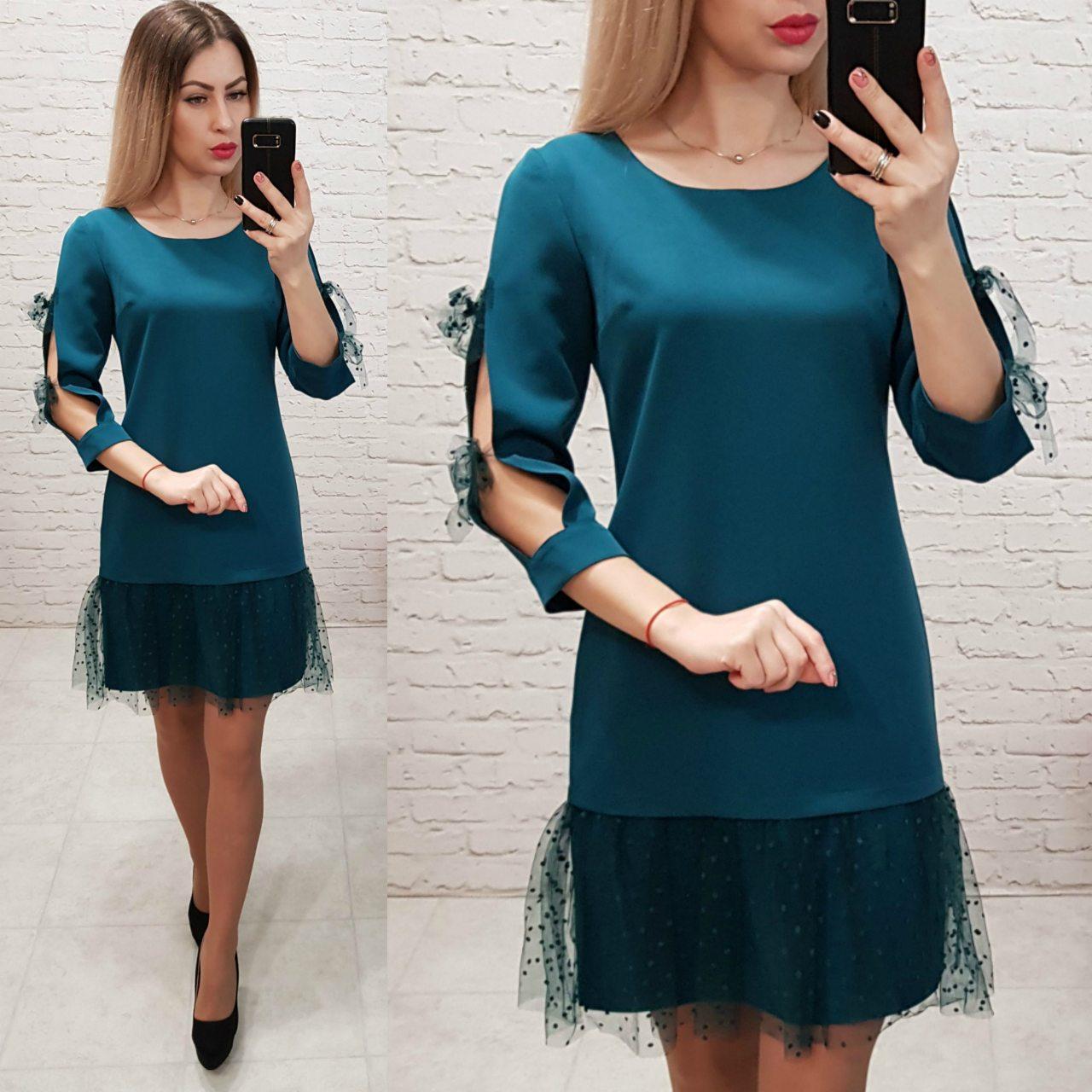 Платье женское, креп+сетка, модель 154, цвет - бутылочка
