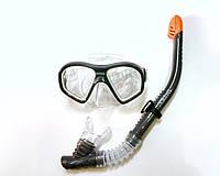 Набір для плавання маска + трубка сірий, фото 1