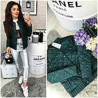 Женская стеганая куртка ветровка + батал, арт 310, цвет бутылка