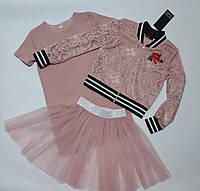 Модный комплект на девочку подростка 3 в 1 Размер 128