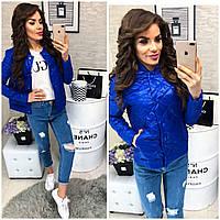 Женская стеганая куртка ветровка + батал, арт 310, цвет электрик
