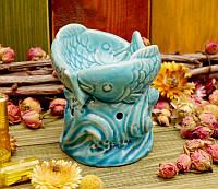 "Аромалампа ""Две рыбки"" керамика голубая (9х9х9,5 см)"