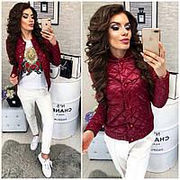 Женская стеганая куртка ветровка + батал, арт 310, цвет вишня