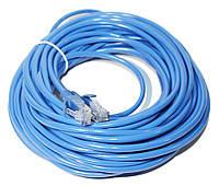 Патч-корд 25 м, UTP, Blue, Ritar, литой, RJ45, кат.6е, медь, витая пара, сетевой кабель для интернета