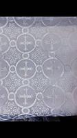 Тканина церковна Коринф біла з білим шовковим візерунком Ткань церковная