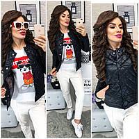 Женская стеганая куртка ветровка  + батал, арт 310, цвет черный, фото 1