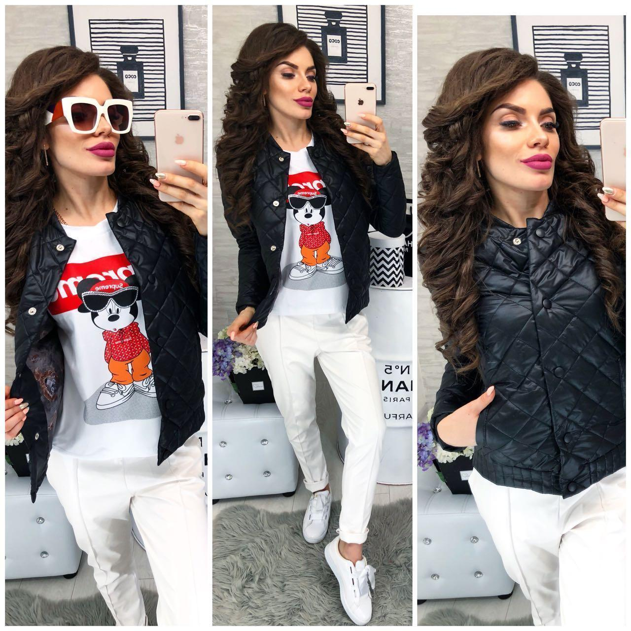 Женская стеганая куртка ветровка  + батал, арт 310, цвет черный