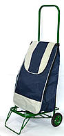 Усиленная хозяйственная сумка тележка на колесах с подшипниками Синяя (0068)