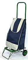 Посилена господарська сумка візок на колесах з підшипниками Синя (0068)