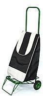 Усиленная хозяйственная сумка тележка на колесах с подшипниками Черная (0069)