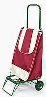 Усиленная хозяйственная сумка тележка на колесах с подшипниками Бордовая (0070), фото 1