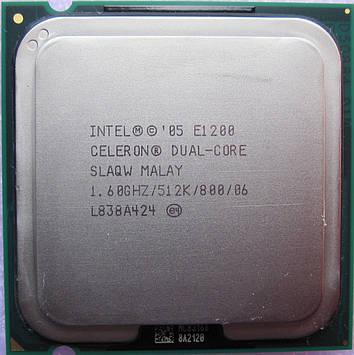 Процессор Intel Celeron Dual-Core E1200 1.60GHz/512K/800 (SLAQW) s775, tray