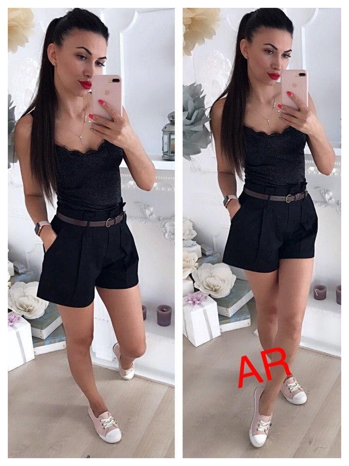 48c7e64f59db Черные женские шорты с ремешком AR