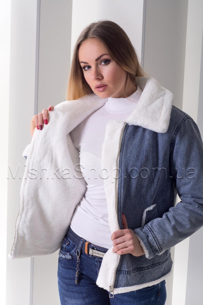 Хит! Стильная джинсовая куртка с эко мехом