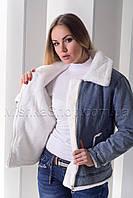 Хит! Стильная джинсовая куртка с эко мехом, фото 1