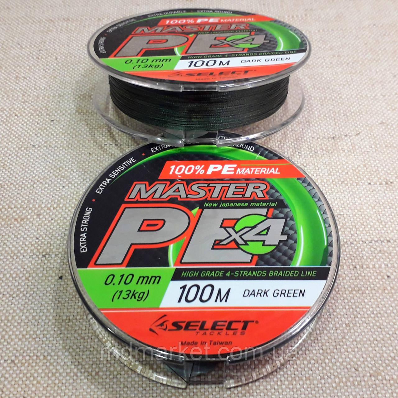 Шнур плетёный Master PE 100м 0.12mm 15кг (тёмно-зелёный)