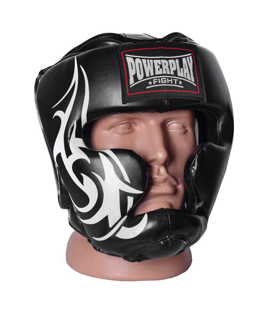 Шолом боксерський PowerPlay 3043 / PU / black / M