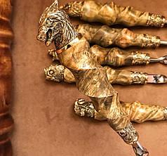 """Шампура ручной работы """"Подарок охотнику"""" в кожаном колчане, 6шт, фото 3"""