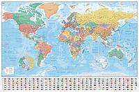 "Постер / Плакат ""Карта Мира (Флаги и Факты) / World Map (Flags and Facts)"""
