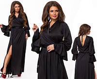 Вечернее шелковое платье на запах (черный) 827912