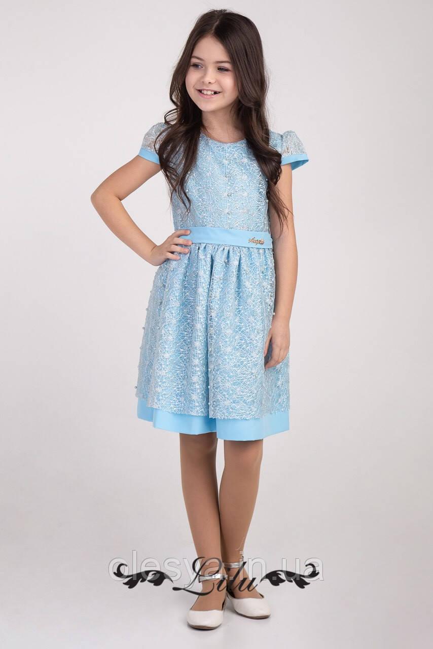 Платье нарядное на девочек с коротким рукавом Размер 128-146