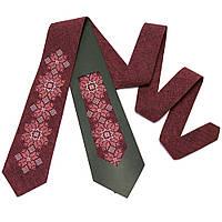 Бордовый мужской галстук с вышивкой под темный костюм №667, фото 1