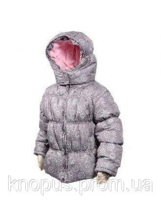 Демисезонная куртка для девочки на флисе серая,  PIDILIDI, размер 98,