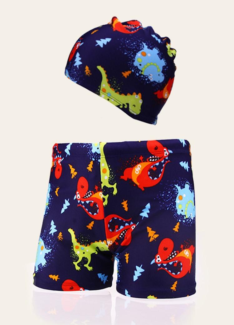 Комплект для плавания - плавки шорты и шапочка, Динозавр